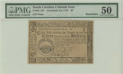 1776 $3 December 23, South Carolina Colonial Note PMG 50 About Uncirculated