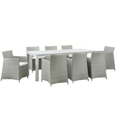 Modway Junction 9 Pc Outdoor Patio Dining Set, Gray White - EEI-1752-GRY-WHI-SET