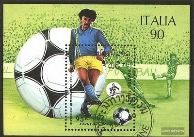 Laos block130 (complete issue) used 1990 World Cup, Italy