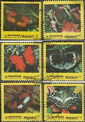 Manama 1099A-1104A (complete issue) used 1972 Butterflies