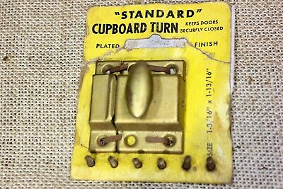 "1 3/4"" Cabinet Cupboard Turn latch catch old rustic brass on tin USA made! NOS"