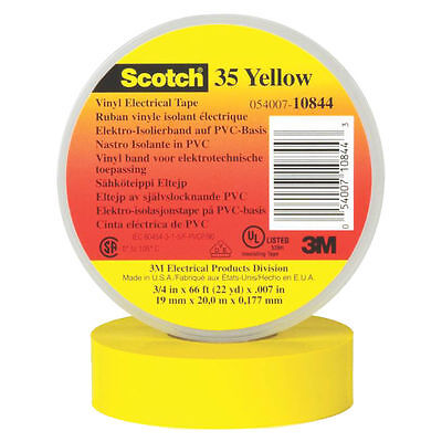 3M Temflex Electrical Tape, 3/4 in W x 66 ft L, 7 mil T, 600 V, Rubber Resin, Ye