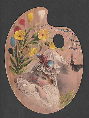 Victorian Trade Card Die Cut I.s. Custer Kid In Pallet