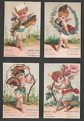 Victorian Trade Card Lot (4) Marks Bros. Dressed Up Cherubs