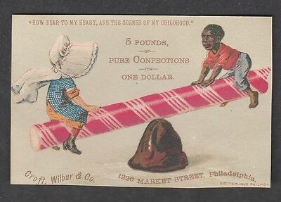 Victorian Trade Card Croft, Wilbur & Co. Candy  Seesaw