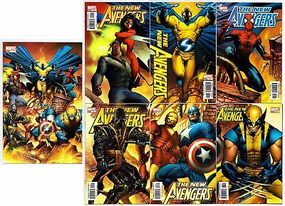 Marvel Comics New Avengers 1-6 Connecting Cover Variant Set With #1 Full Art