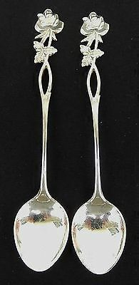 Two (2) Vintage 830 Silver Rose Pattern Spoons made in Finland