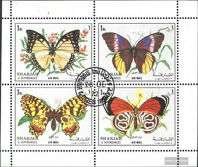 Sharjah 1304 -1307 Sheetlet (complete issue) used 1972 Butterfl