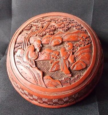 A Fine Small Antique Chinese Cinnabar Lacquer Box And Cover