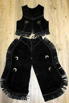 Black Suede Leather Halloween costume Western Cowboy Kids Youth Chaps Sm Med Lg