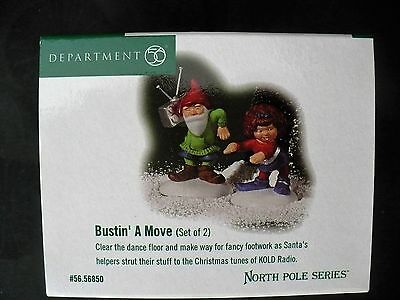 """Dept 56 North Pole """"BUSTIN' A MOVE"""" (Set of 2) New in Box, #56.56850"""