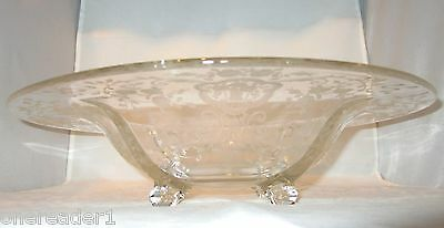 """Vintage Clear 13"""" FLORAL ROSE ETCHED COMPOTE GLASS BOWL 4 Footed"""