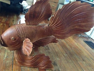 large wooden Koi Fish
