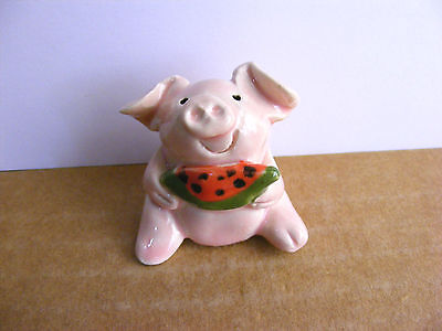 Little Guys Pig With Watermelon Miniature Animal Figurine Cindy Pacileo Pottery