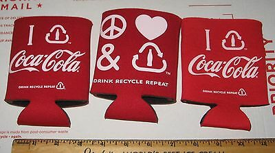 Lot 3 Coca-Cola COKE Symbols Can Bottle Coozies Koozies NOS Peace Love