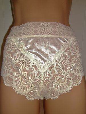 "Carole's Whipped Cream Nylon Hi ~Cut Panty W/7"" Lace 6/m ~ Nwt"