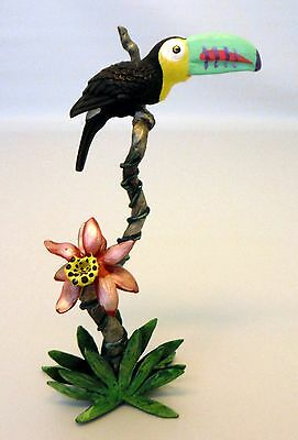 Miniature Toucan Bird on Flower Colorful Painted Pewter Figurine Very Pretty
