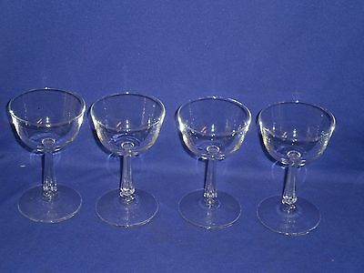 Vintage Stemware Plain No Pattern Sherbet/Champagne 4 Glass Lot 5 inches tall