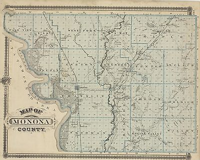 1875  Map of Monona County, IOWA [plus Sioux City]