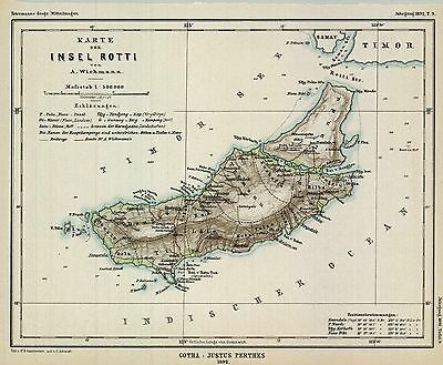 1892 Map of Rotti Island (Rote Is.)-Petermann