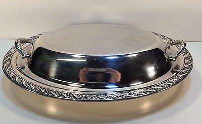 """Wm Rogers & Sons Silver Plated Covered Vegetable Dish """"Spring Flowers"""" ExUsdCond"""
