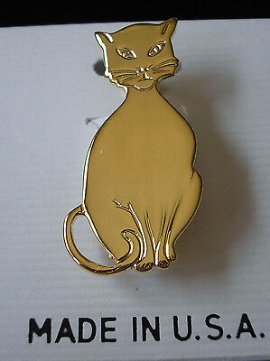 CAT PIN Brooch Gold Plated Finish Carded NEW