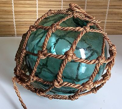 "Antique Large 5"" Green Teal Glass Float Ball Art Decorative Orb Rope/Netting"