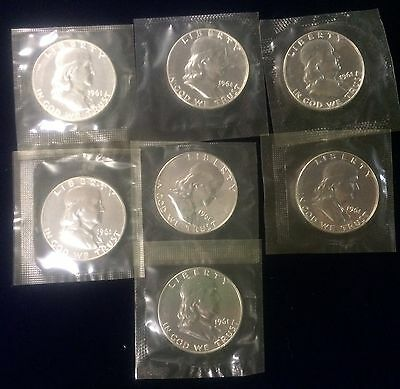1961 Proof 90% Silver Franklin Half Dollar Sealed In Mint Cello Free S/H
