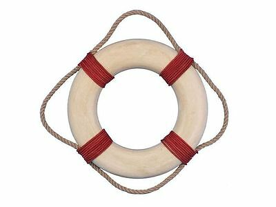 """Rustic Decorative White Lifering with Red Rope Bands 15"""" - Nautical Life Saver -"""