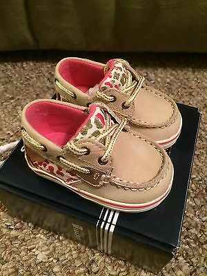Sperry Top-Sider Bluefish Crib Shoe Silver/Leopard Size 1M Baby Infant NEW