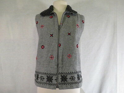 Ivy Women's S Vest Gray Wool blend Faux Fur Collar Zip Front Embroidery