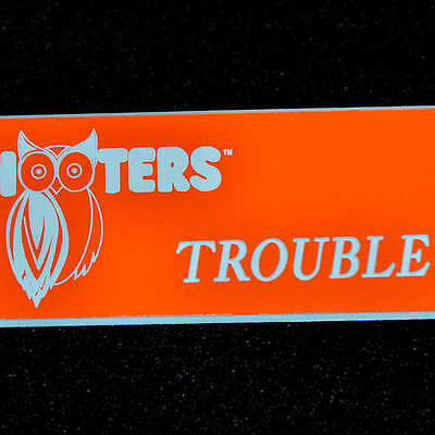 "Hooters Girl Uniform ""TROUBLE""  Orange Name Tag - Excellent Condition!"