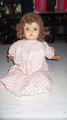 "18"" Vintage Composition Horseman Baby Doll Crier NON-WORKING w/ Wig"
