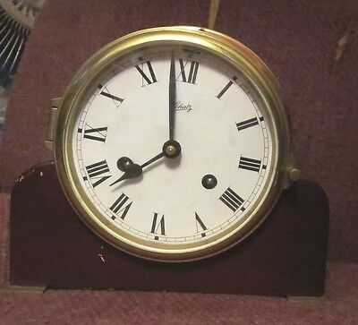 Vintage Schatz Germany key wind 8 day marine ship clock with wooden stand