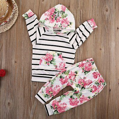Infant Baby Girl Striped Hooded Tops Outerwear+Floral Pants Outfits Set Clothes