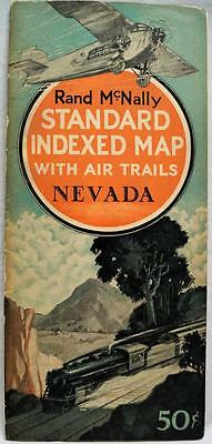 Rand Mcnally State Of Nevada Standard Indexed Map With Air Trails 1929 Vintage