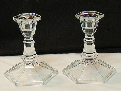 "Pair Vintage 5"" Glass Candlesticks.. Etched Star of David.. Jewish Hannakuh"