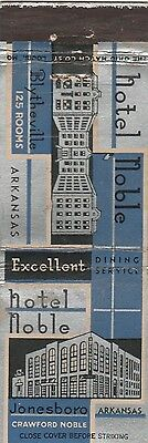 Vintage Hotel Matchbook Cover. Hotel Noble. Jonesboro, Ar.