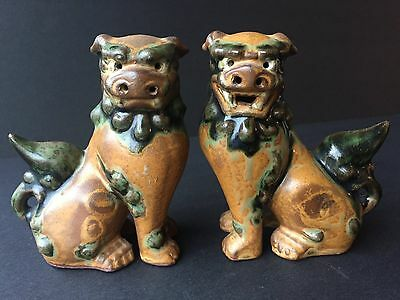 Mint vintage small shishi foo fu dogs lions pair brown green ceramic pottery