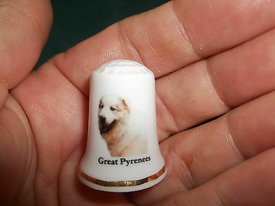 vintage GREAT PYRENEES Dog Collectible ceramic Thimble figurine Lim.Edition