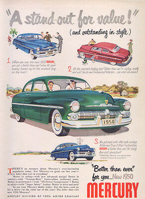 Mercury Stand-out for value! Outstanding style ad 1950