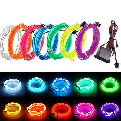 1-5M Led EL Wire Tube Rope Flexible Neon Glow Car Party Decor Light+12V Driver