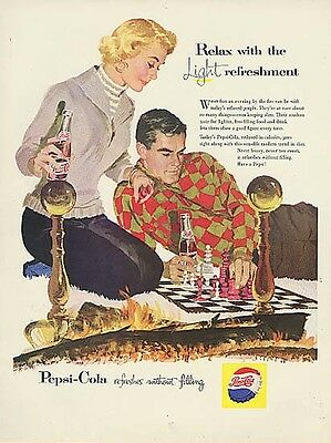 Relax with Light refreshment Pepsi-Cola ad 1957 blonde slacks chess fireplace