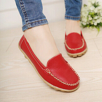 Women Casual Leather Slip On Shoes Moccasin Oxfords Loafers Flat Shoes WE38