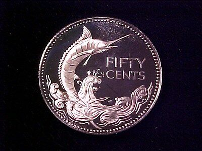 Bahamas 50 Cents Silver Proof 1974 Gem Cameo Blue Marlin Nice