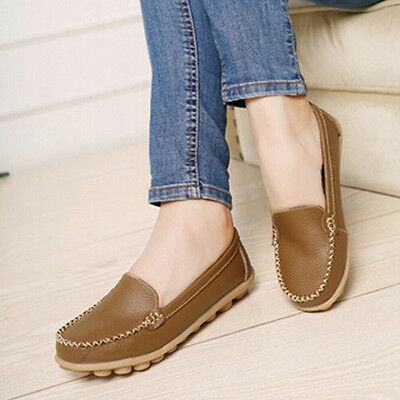 Women Casual Leather Slip On Shoes Moccasin Oxfords Loafers Flat Shoes KH38