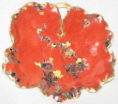 Rare Early (1879-1889) Red Background w/Flowers Haviland Limoges Leaf Bowl