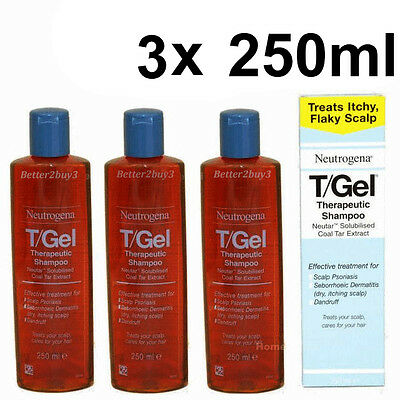 3 x 250ml TGEL T/GEL SHAMPOO  NEUTROGENA NEW T-GEL T Gel