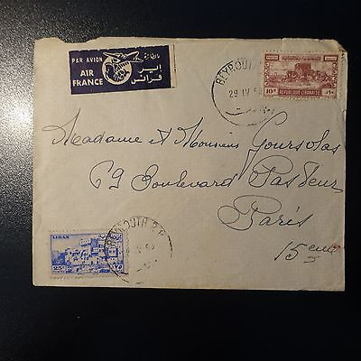 Liban Lettre Cover 1950 Beyrouth Pour Paris France Par Avion