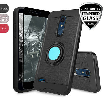 For LG G6 Shockproof Brushed Armor Rubber Case +Tempered Glass Screen Protector